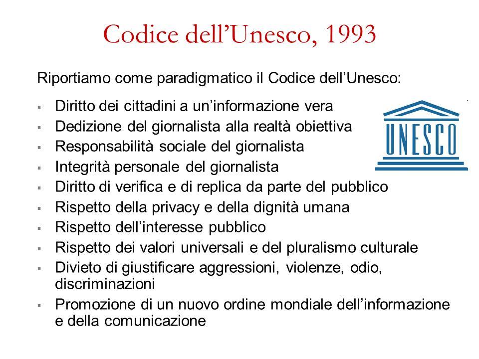 Codice dellUnesco, 1993 Riportiamo come paradigmatico il Codice dellUnesco: Diritto dei cittadini a uninformazione vera Dedizione del giornalista alla