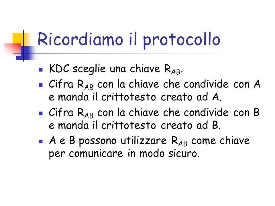 Autentica Mediata (con KDC) Il protocollo appena (ri)visto ha diversi problemi.