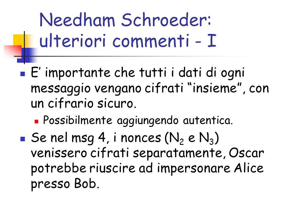 Needham Schroeder: ulteriori commenti - II Oscar dapprima registra una coversazione valida (tra Alice e Bob) Successivamente Oscar ri invia il messaggio 3 (della conversazione registrata) che contiene Enc(K AB,N 2 ).