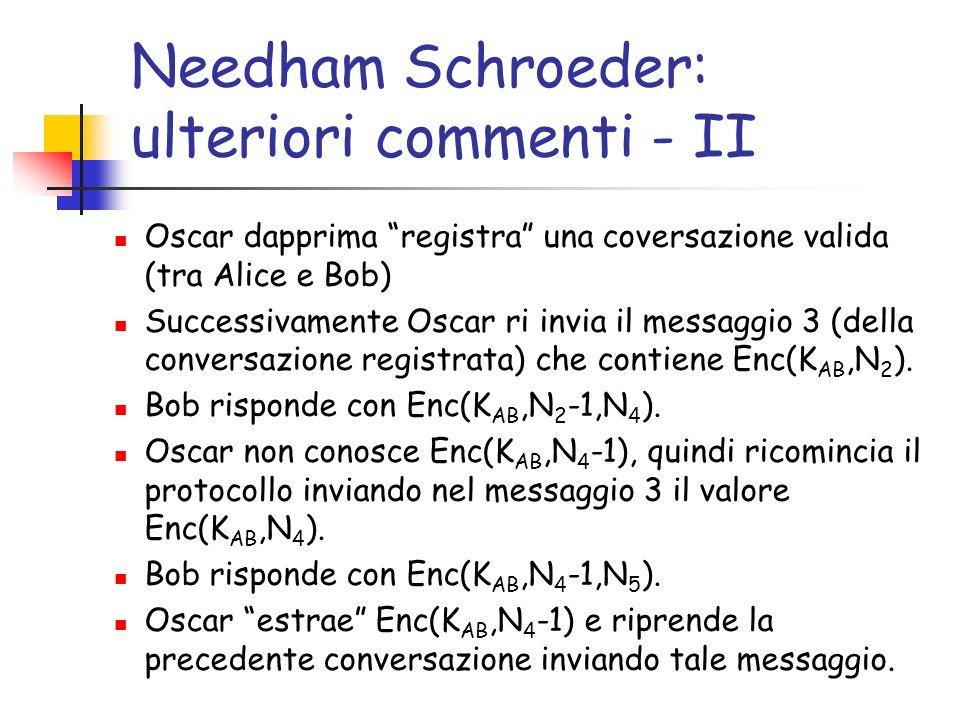 Needham Schroeder: ulteriori commenti - III Se Oscar scopre la chiave di Alice K A, puo chiedere a KDC di parlare con Bob (spacciandosi per Alice) Tale problema e inevitabile.