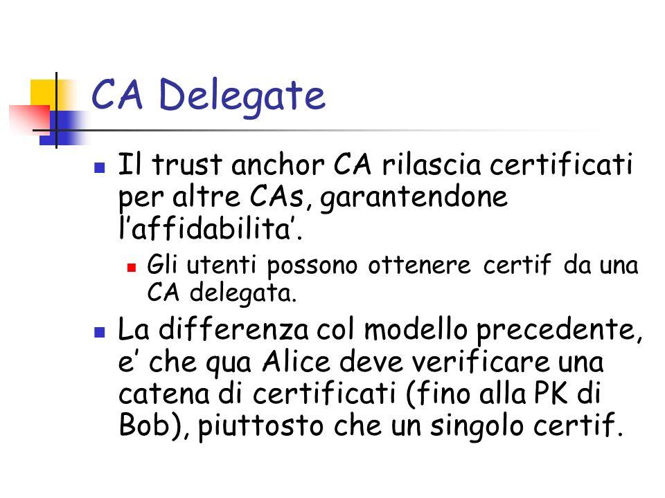 CA Delegate Il trust anchor CA rilascia certificati per altre CAs, garantendone laffidabilita. Gli utenti possono ottenere certif da una CA delegata.