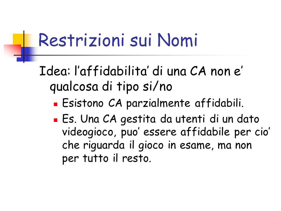 Restrizioni sui Nomi Idea: laffidabilita di una CA non e qualcosa di tipo si/no Esistono CA parzialmente affidabili. Es. Una CA gestita da utenti di u