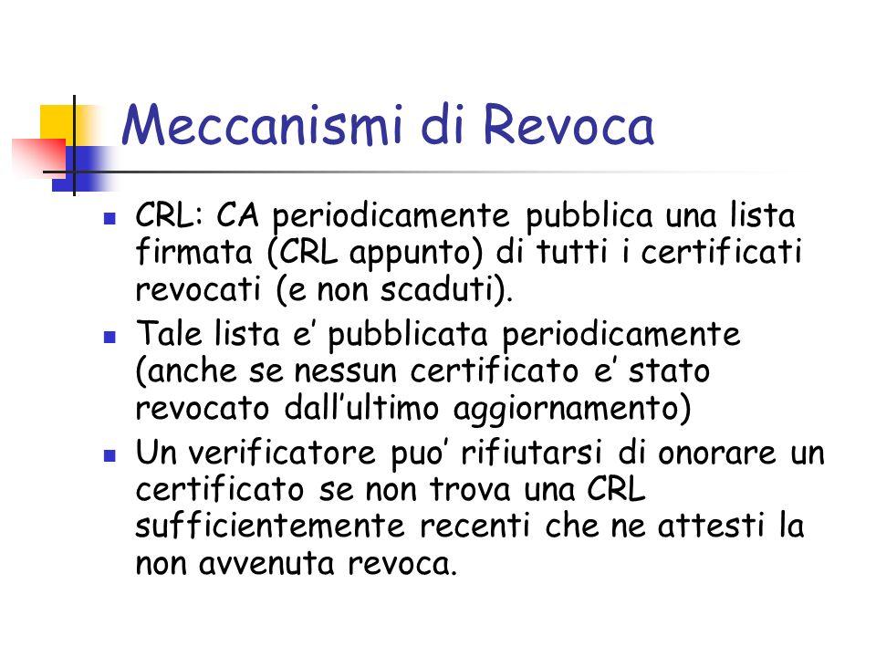 Meccanismi di Revoca CRL: CA periodicamente pubblica una lista firmata (CRL appunto) di tutti i certificati revocati (e non scaduti). Tale lista e pub