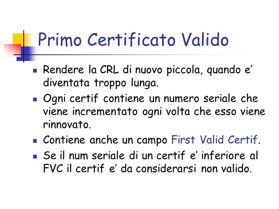Primo Certificato Valido Rendere la CRL di nuovo piccola, quando e diventata troppo lunga. Ogni certif contiene un numero seriale che viene incrementa