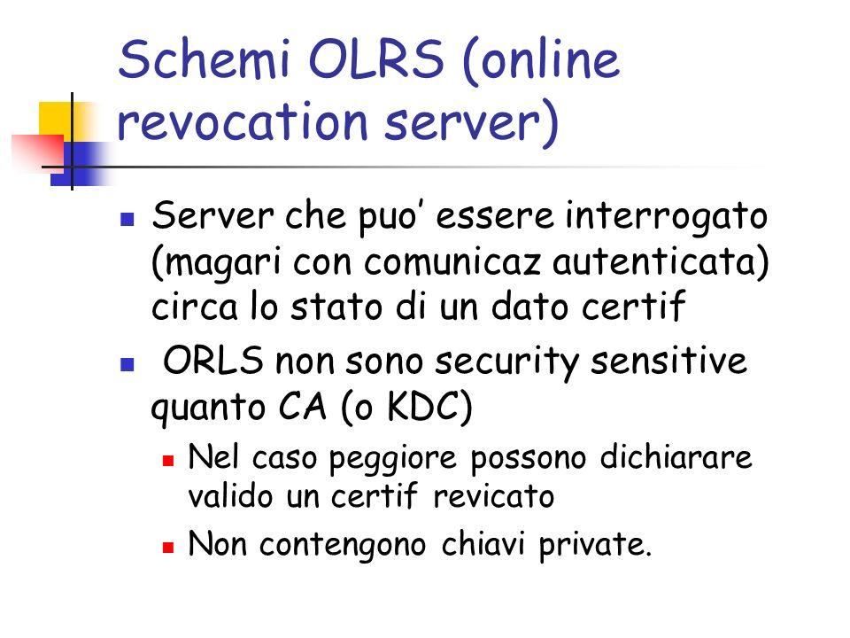 Schemi OLRS (online revocation server) Server che puo essere interrogato (magari con comunicaz autenticata) circa lo stato di un dato certif ORLS non