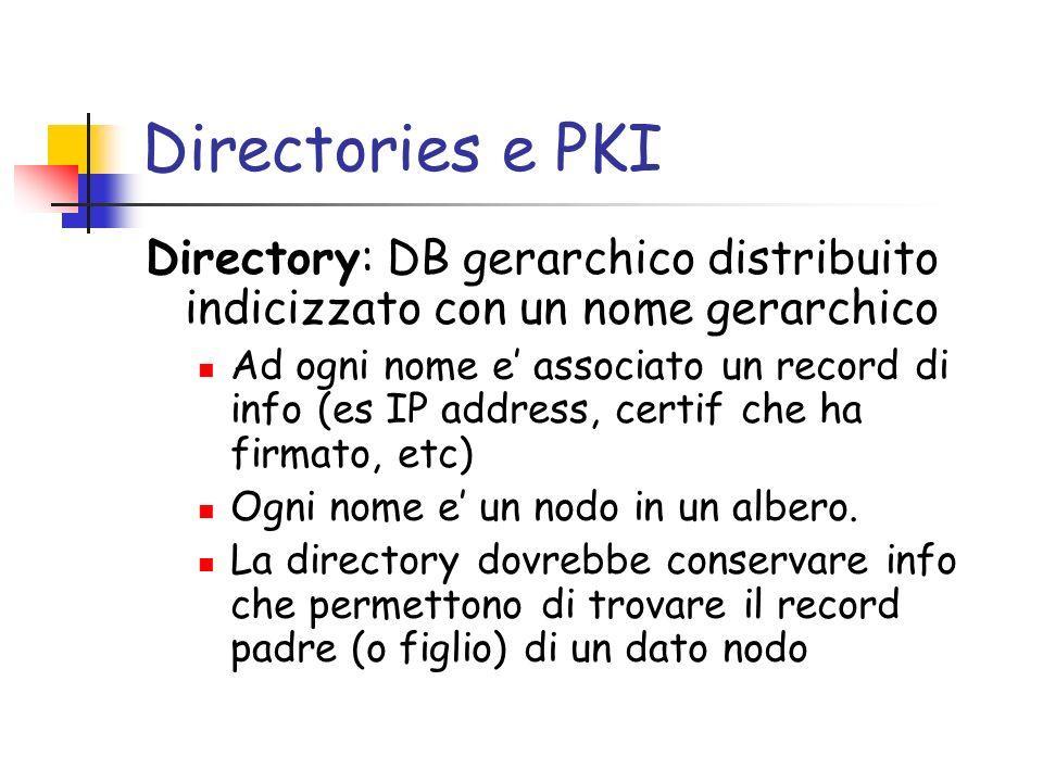 Directories e PKI Directory: DB gerarchico distribuito indicizzato con un nome gerarchico Ad ogni nome e associato un record di info (es IP address, c