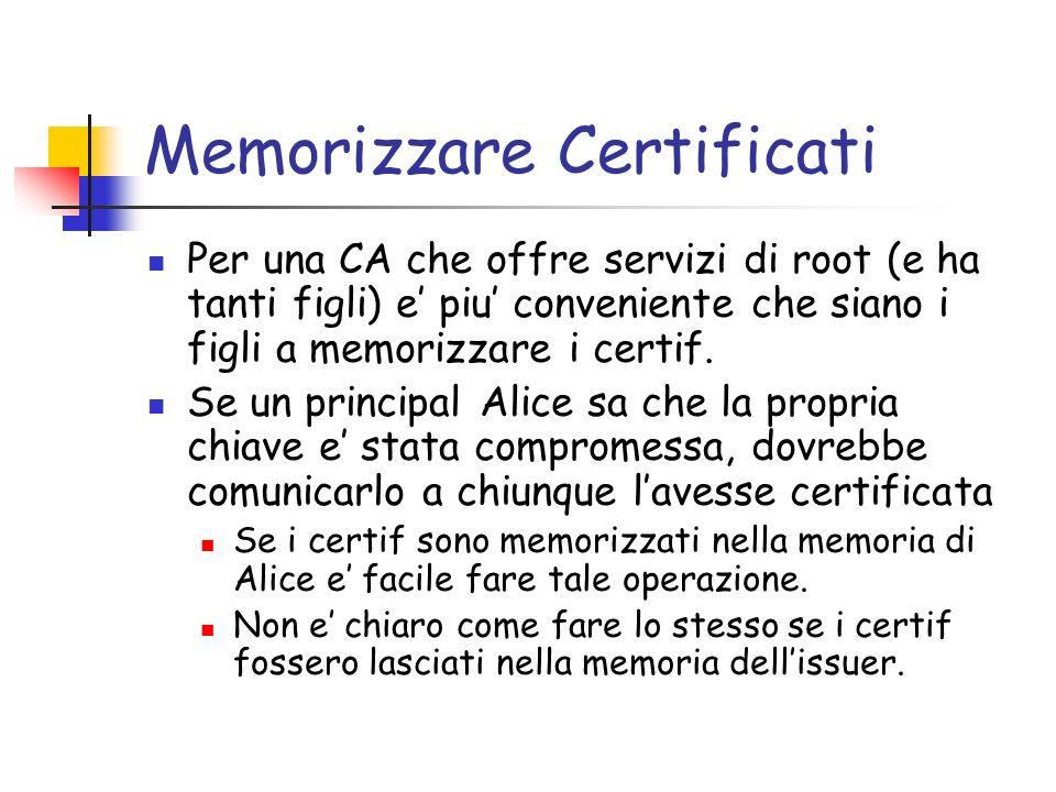 Memorizzare Certificati Per una CA che offre servizi di root (e ha tanti figli) e piu conveniente che siano i figli a memorizzare i certif. Se un prin