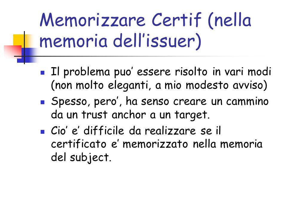 Memorizzare Certif (nella memoria dellissuer) Il problema puo essere risolto in vari modi (non molto eleganti, a mio modesto avviso) Spesso, pero, ha