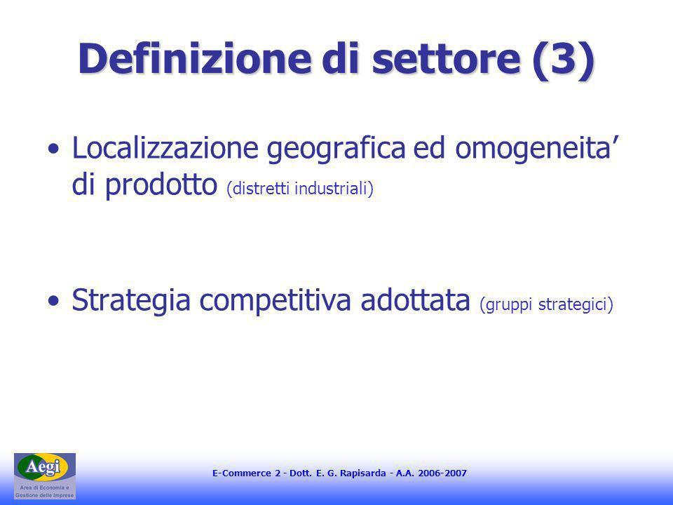 E-Commerce 2 - Dott. E. G. Rapisarda - A.A. 2006-2007 Definizione di settore (3) Localizzazione geografica ed omogeneita di prodotto (distretti indust