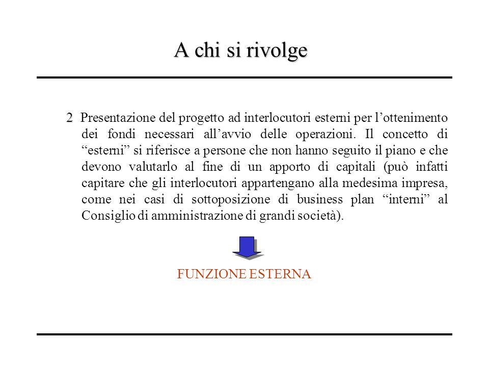 A chi si rivolge 2 2 Presentazione del progetto ad interlocutori esterni per lottenimento dei fondi necessari allavvio delle operazioni. Il concetto d