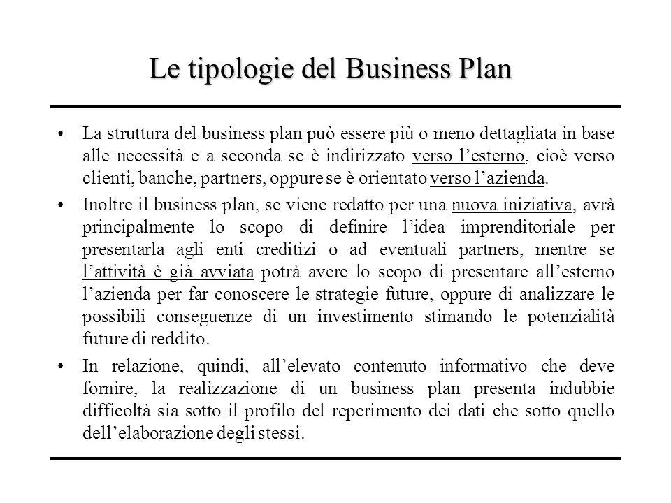 Le tipologie del Business Plan La struttura del business plan può essere più o meno dettagliata in base alle necessità e a seconda se è indirizzato ve