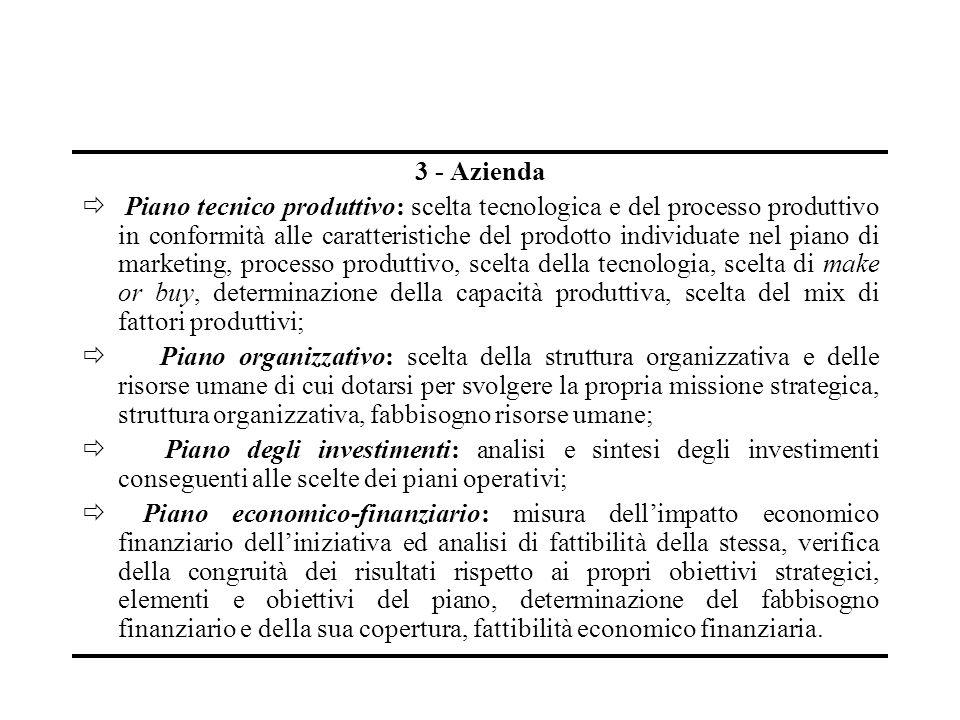 3 - Azienda Piano tecnico produttivo: scelta tecnologica e del processo produttivo in conformità alle caratteristiche del prodotto individuate nel pia