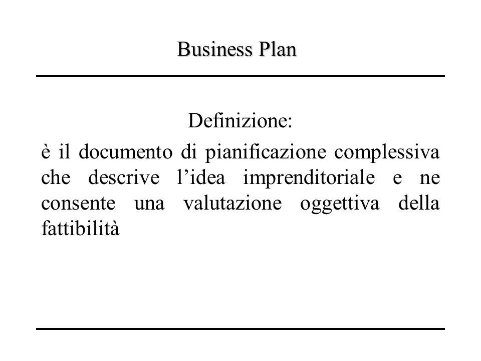Business Plan Definizione: è il documento di pianificazione complessiva che descrive lidea imprenditoriale e ne consente una valutazione oggettiva del