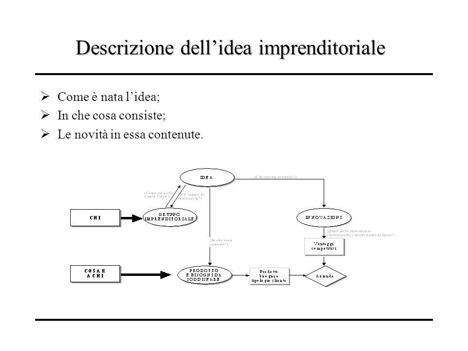 Descrizione dellidea imprenditoriale Come è nata lidea; In che cosa consiste; Le novità in essa contenute.