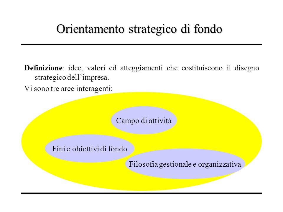 Orientamento strategico di fondo Definizione: idee, valori ed atteggiamenti che costituiscono il disegno strategico dellimpresa. Vi sono tre aree inte