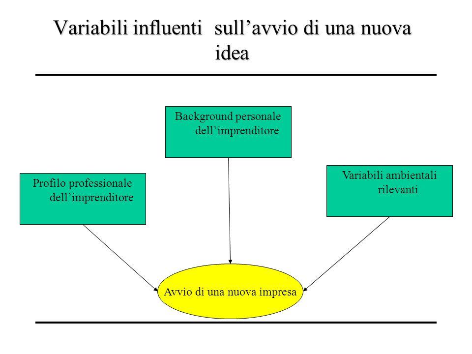 Variabili influenti sullavvio di una nuova idea Avvio di una nuova impresa Profilo professionale dellimprenditore Variabili ambientali rilevanti Backg
