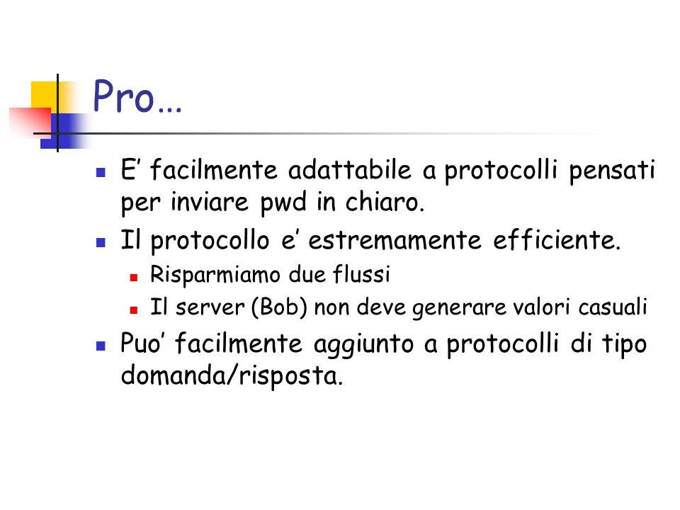 Pro… E facilmente adattabile a protocolli pensati per inviare pwd in chiaro.