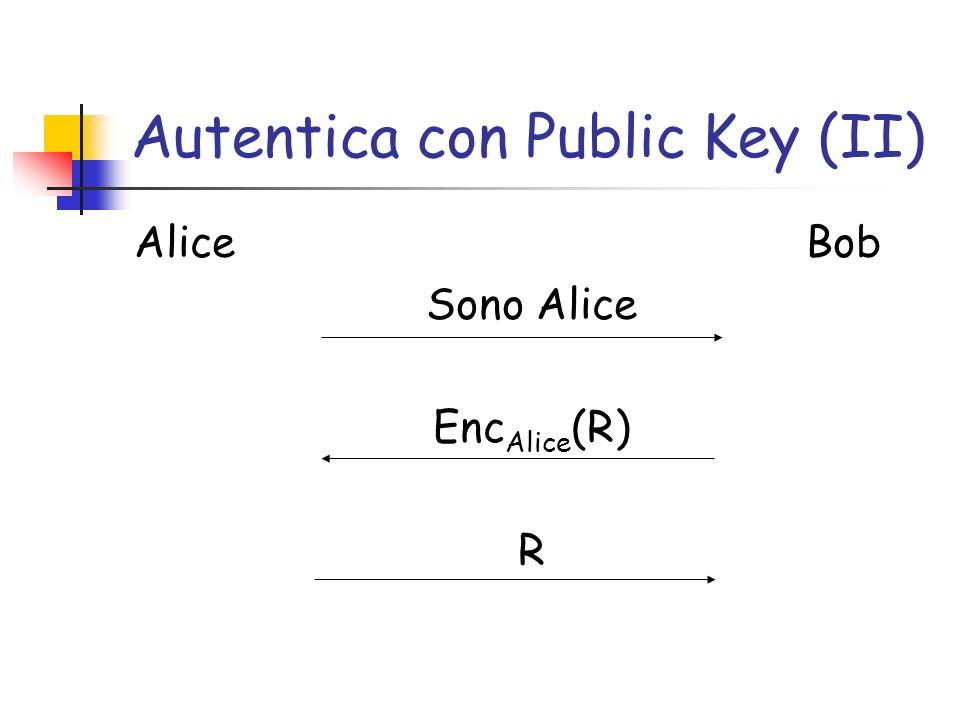 Autentica con Public Key (II) Alice Bob Sono Alice Enc Alice (R) R