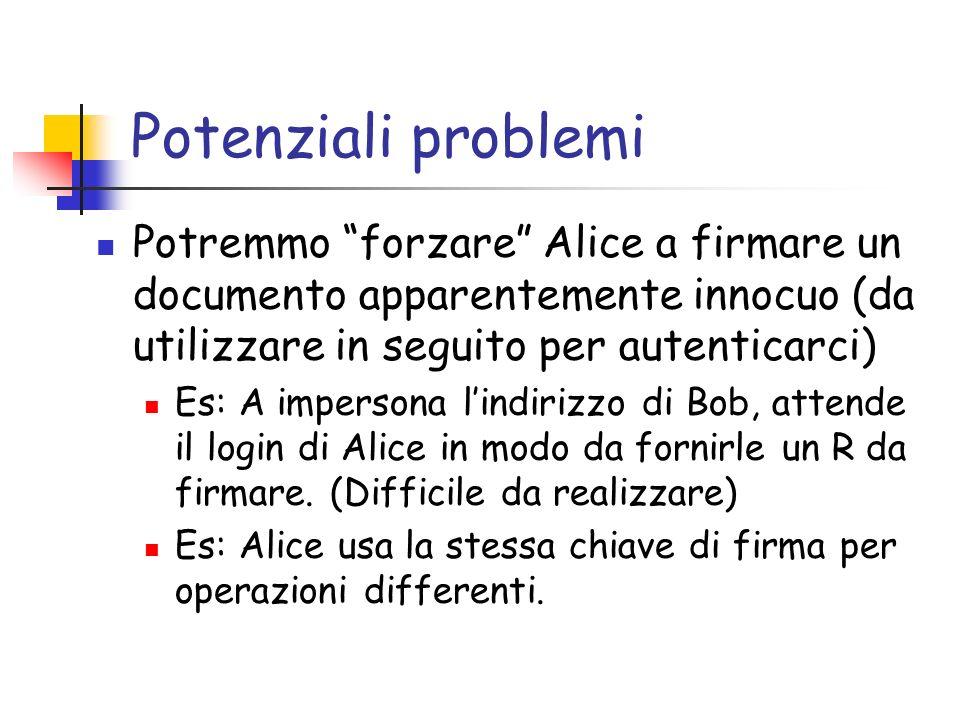 Potenziali problemi Potremmo forzare Alice a firmare un documento apparentemente innocuo (da utilizzare in seguito per autenticarci) Es: A impersona lindirizzo di Bob, attende il login di Alice in modo da fornirle un R da firmare.