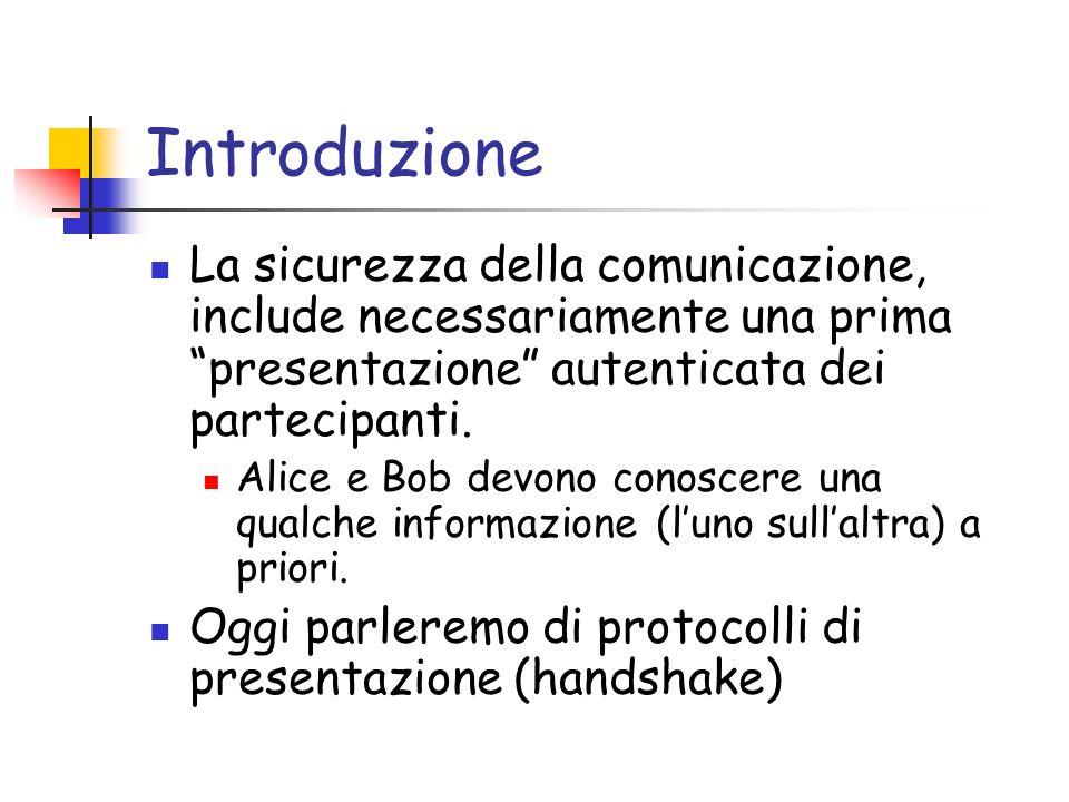 Introduzione La sicurezza della comunicazione, include necessariamente una prima presentazione autenticata dei partecipanti.
