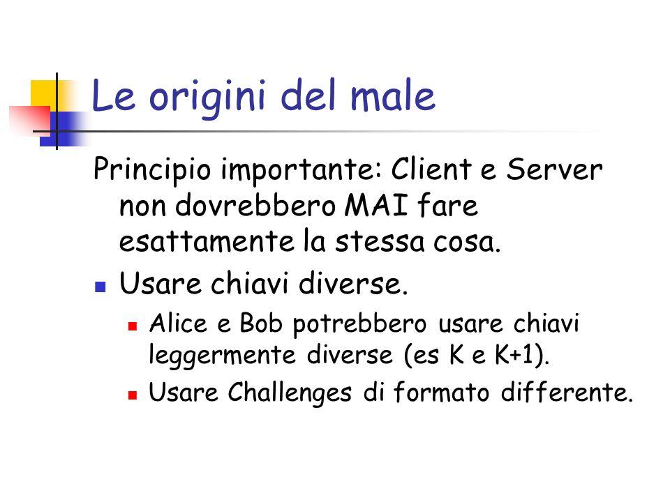 Le origini del male Principio importante: Client e Server non dovrebbero MAI fare esattamente la stessa cosa.