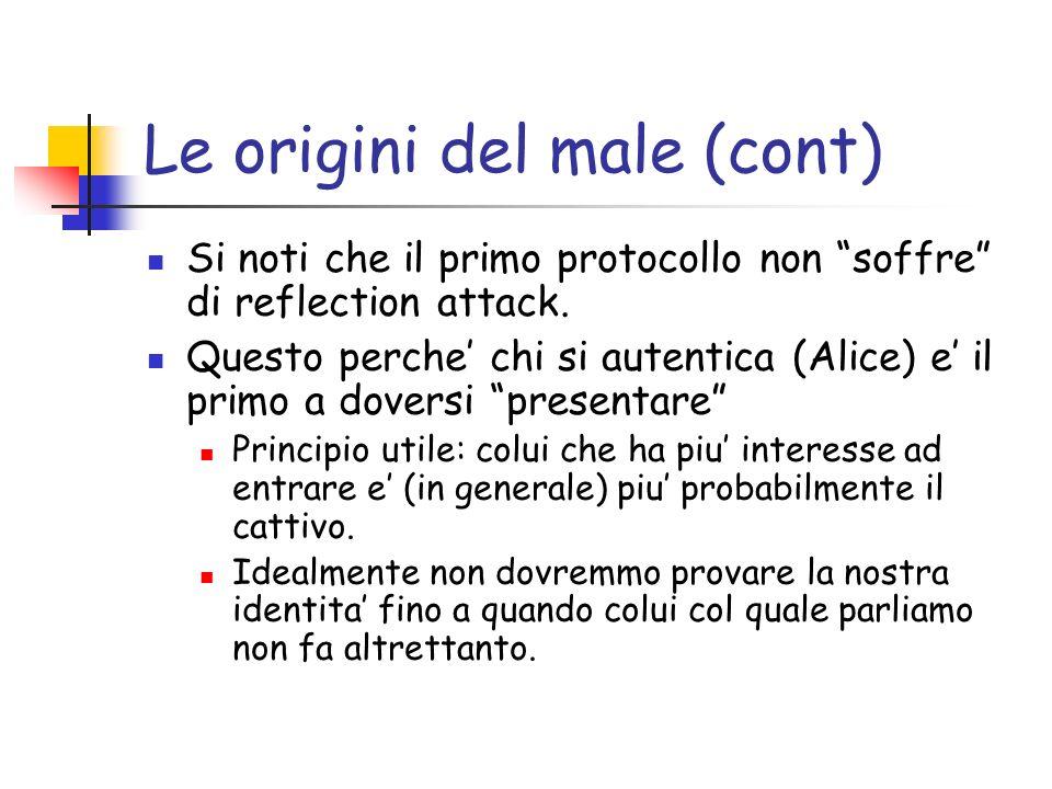 Le origini del male (cont) Si noti che il primo protocollo non soffre di reflection attack.