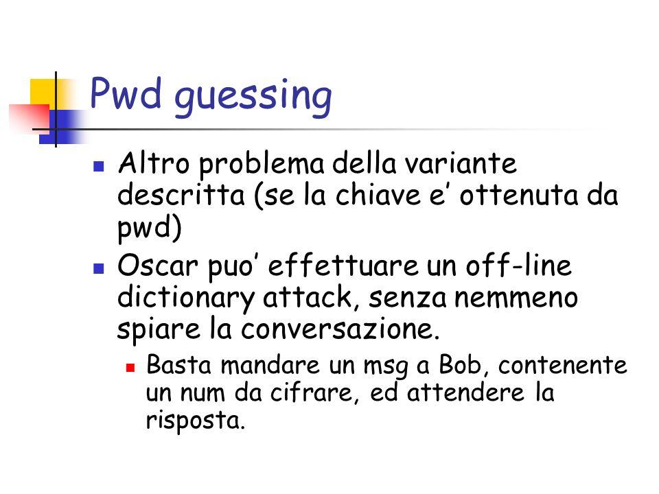 Pwd guessing Altro problema della variante descritta (se la chiave e ottenuta da pwd) Oscar puo effettuare un off-line dictionary attack, senza nemmeno spiare la conversazione.
