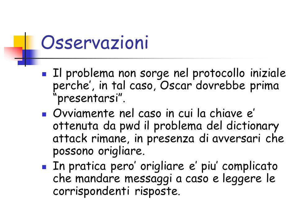 Osservazioni Il problema non sorge nel protocollo iniziale perche, in tal caso, Oscar dovrebbe prima presentarsi.