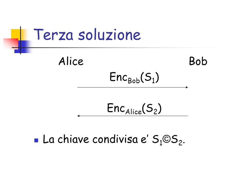 Terza soluzione Alice Bob Enc Bob (S 1 ) Enc Alice (S 2 ) La chiave condivisa e S 1 © S 2.