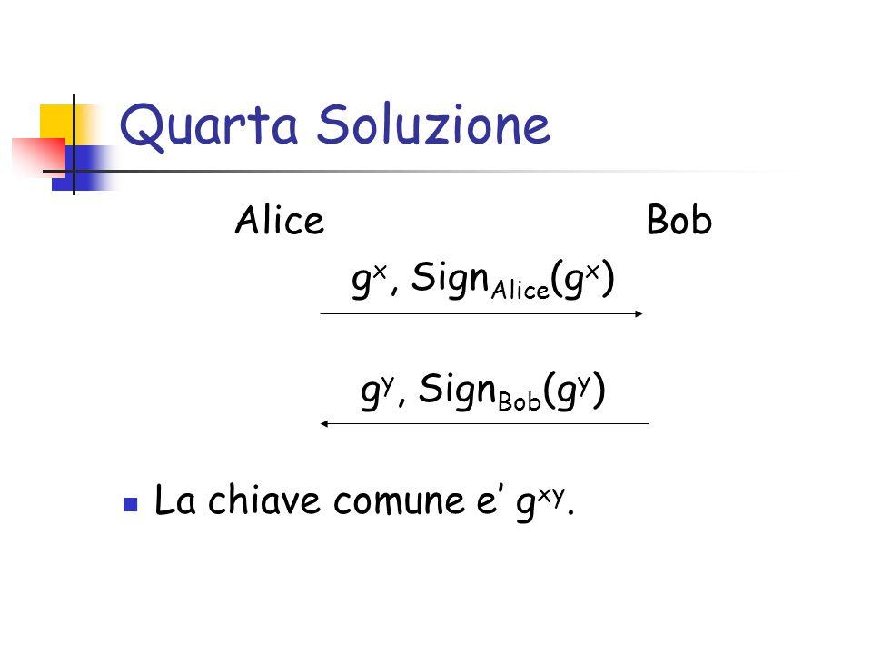 Quarta Soluzione Alice Bob g x, Sign Alice (g x ) g y, Sign Bob (g y ) La chiave comune e g xy.