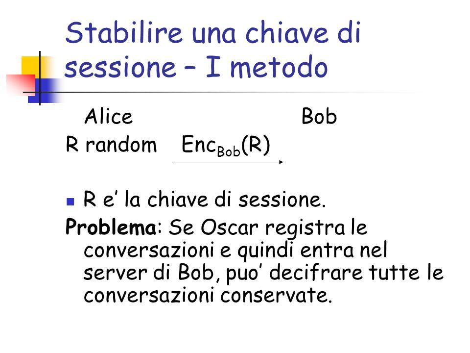 Stabilire una chiave di sessione – I metodo Alice Bob R random Enc Bob (R) R e la chiave di sessione.