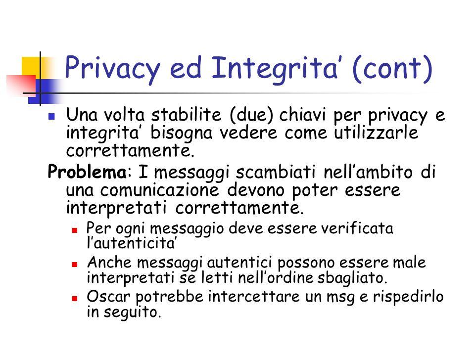 Privacy ed Integrita (cont) Una volta stabilite (due) chiavi per privacy e integrita bisogna vedere come utilizzarle correttamente.