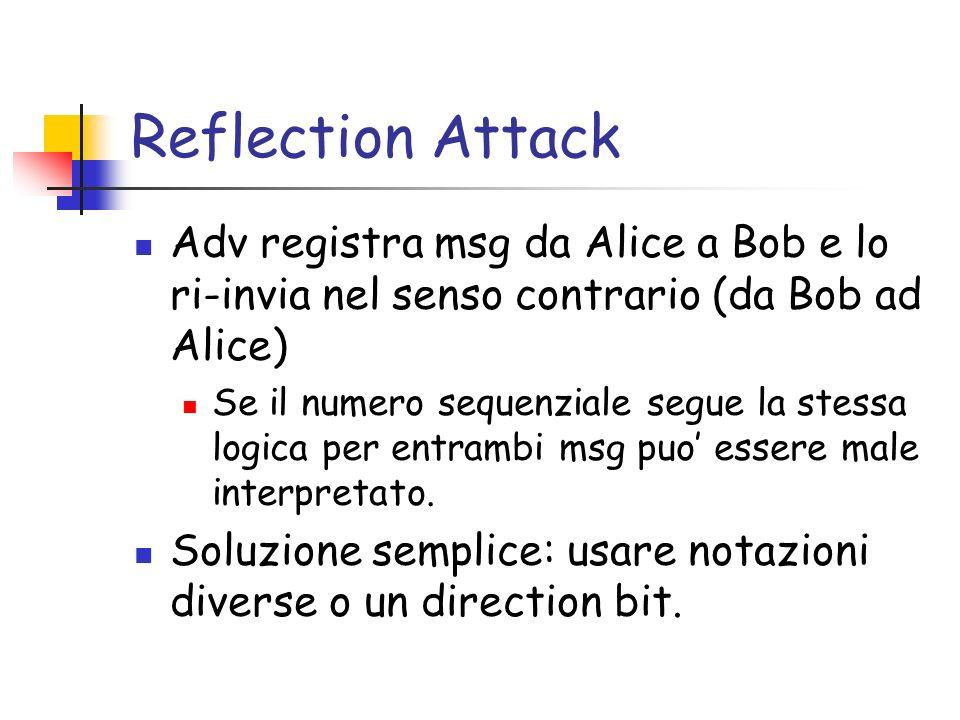Reflection Attack Adv registra msg da Alice a Bob e lo ri-invia nel senso contrario (da Bob ad Alice) Se il numero sequenziale segue la stessa logica per entrambi msg puo essere male interpretato.