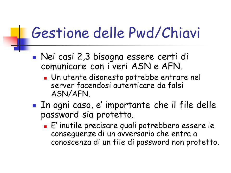 Gestione delle Pwd/Chiavi Nei casi 2,3 bisogna essere certi di comunicare con i veri ASN e AFN.