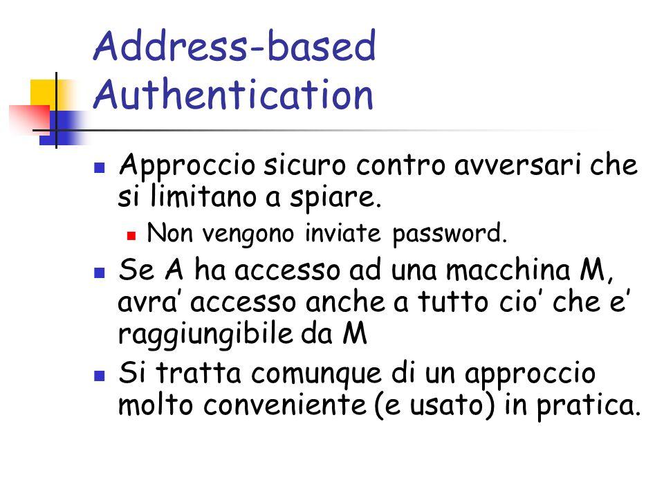 Address-based Authentication Approccio sicuro contro avversari che si limitano a spiare.
