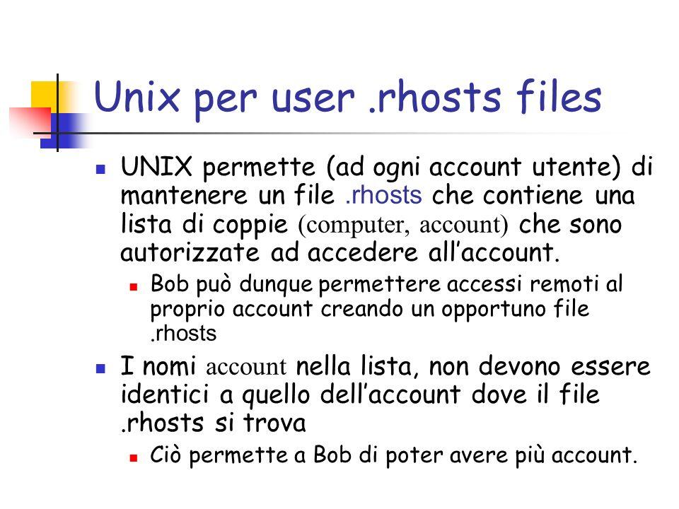 Unix per user.rhosts files UNIX permette (ad ogni account utente) di mantenere un file.rhosts che contiene una lista di coppie (computer, account) che sono autorizzate ad accedere allaccount.