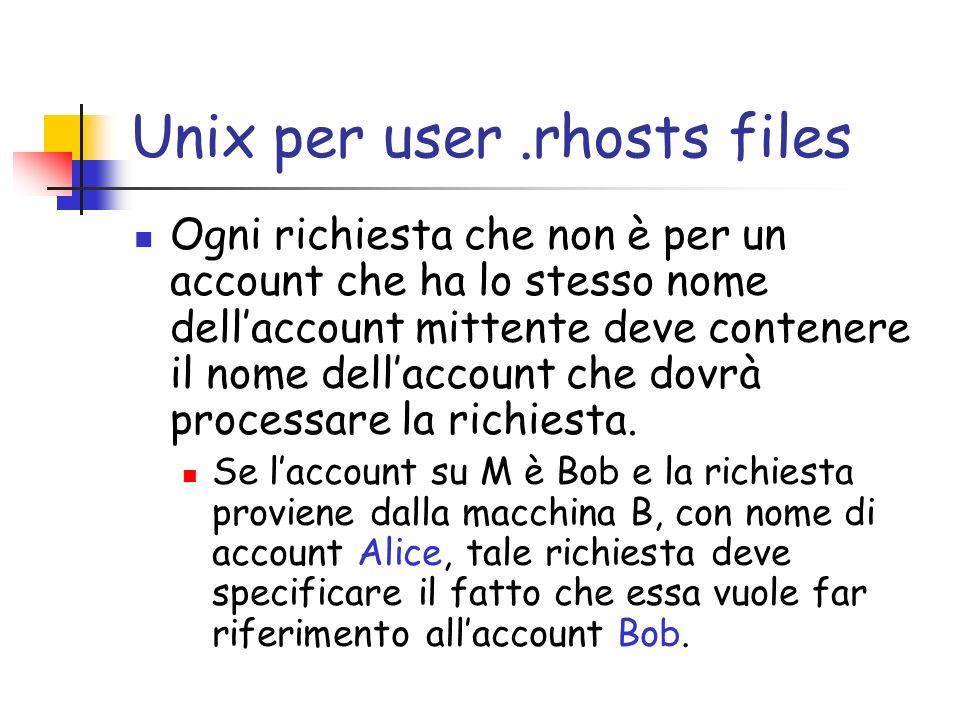 Unix per user.rhosts files Ogni richiesta che non è per un account che ha lo stesso nome dellaccount mittente deve contenere il nome dellaccount che dovrà processare la richiesta.