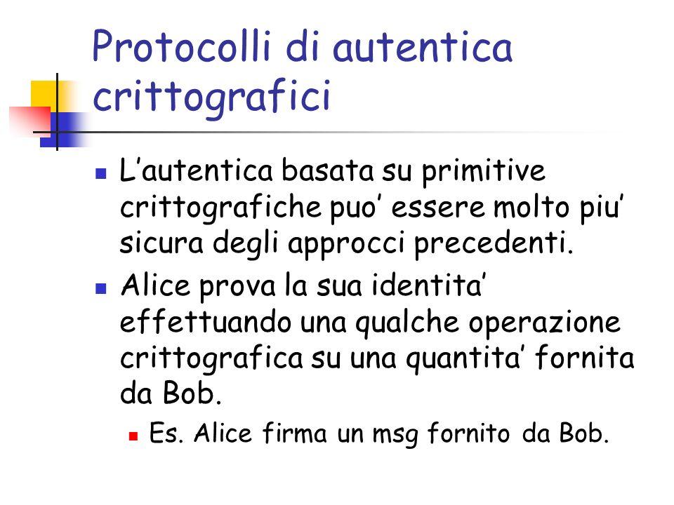 Protocolli di autentica crittografici Lautentica basata su primitive crittografiche puo essere molto piu sicura degli approcci precedenti.