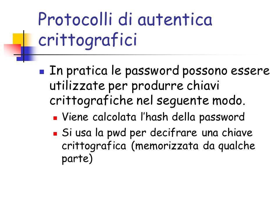 Protocolli di autentica crittografici In pratica le password possono essere utilizzate per produrre chiavi crittografiche nel seguente modo.