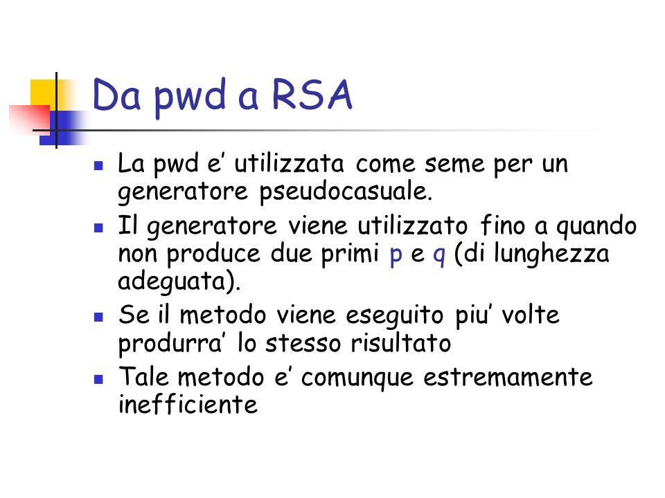 Da pwd a RSA La pwd e utilizzata come seme per un generatore pseudocasuale.