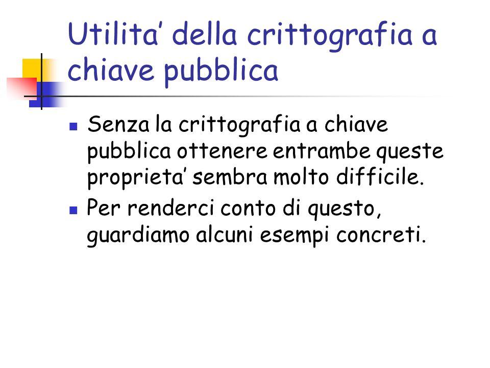 Utilita della crittografia a chiave pubblica Senza la crittografia a chiave pubblica ottenere entrambe queste proprieta sembra molto difficile.