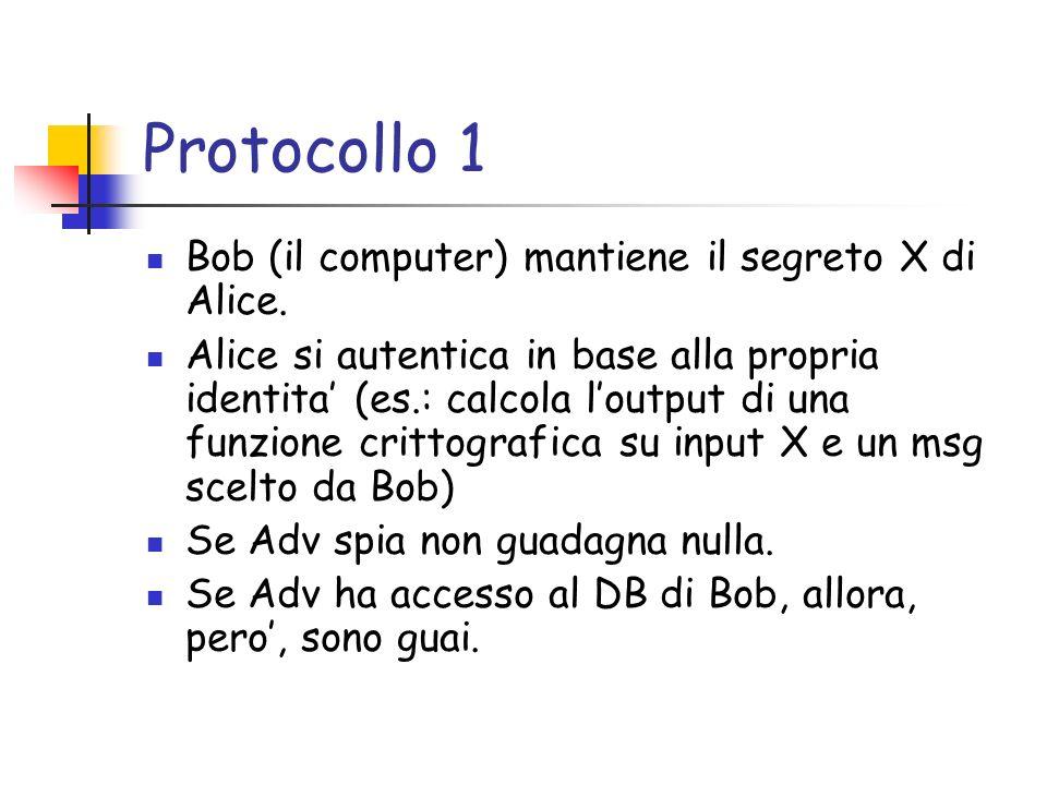 Protocollo 1 Bob (il computer) mantiene il segreto X di Alice.