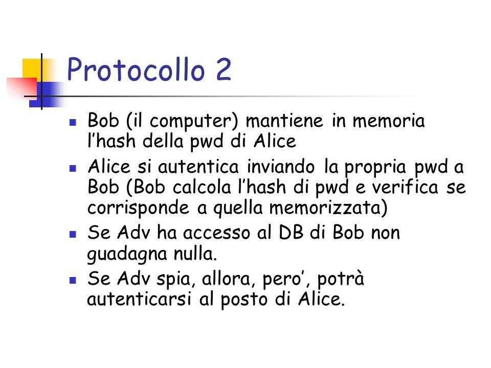 Protocollo 2 Bob (il computer) mantiene in memoria lhash della pwd di Alice Alice si autentica inviando la propria pwd a Bob (Bob calcola lhash di pwd e verifica se corrisponde a quella memorizzata) Se Adv ha accesso al DB di Bob non guadagna nulla.