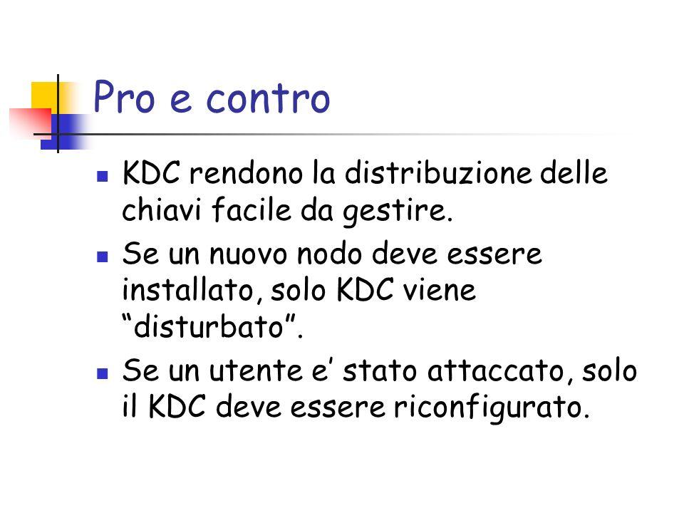 Pro e contro KDC rendono la distribuzione delle chiavi facile da gestire.