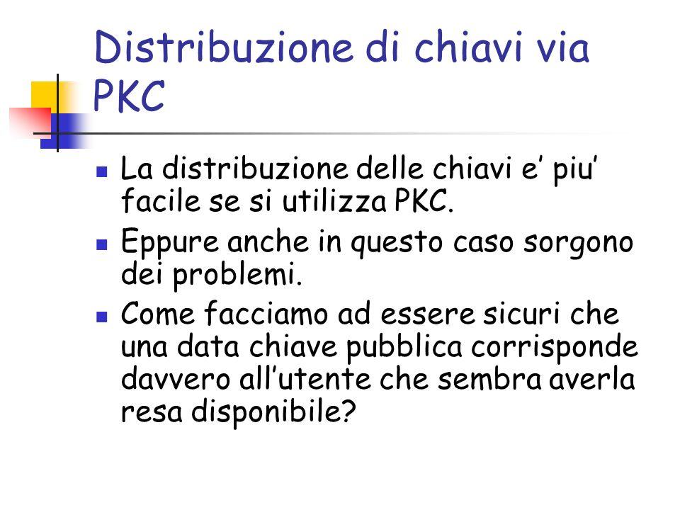 Distribuzione di chiavi via PKC La distribuzione delle chiavi e piu facile se si utilizza PKC.