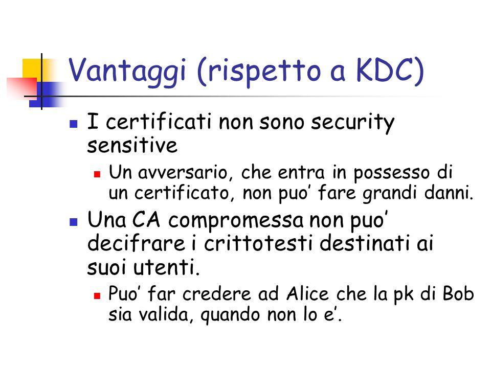 Vantaggi (rispetto a KDC) I certificati non sono security sensitive Un avversario, che entra in possesso di un certificato, non puo fare grandi danni.