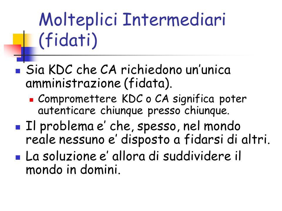 Molteplici Intermediari (fidati) Sia KDC che CA richiedono ununica amministrazione (fidata).