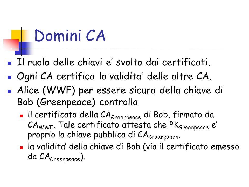 Domini CA Il ruolo delle chiavi e svolto dai certificati.