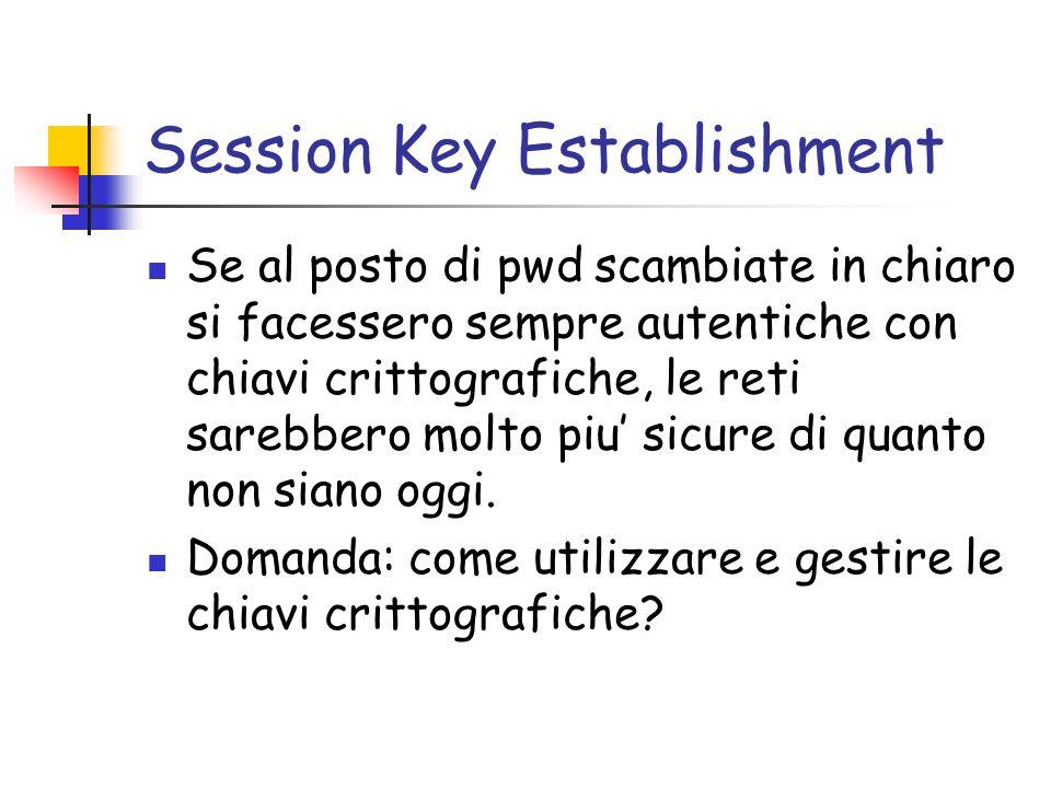Session Key Establishment Se al posto di pwd scambiate in chiaro si facessero sempre autentiche con chiavi crittografiche, le reti sarebbero molto piu sicure di quanto non siano oggi.
