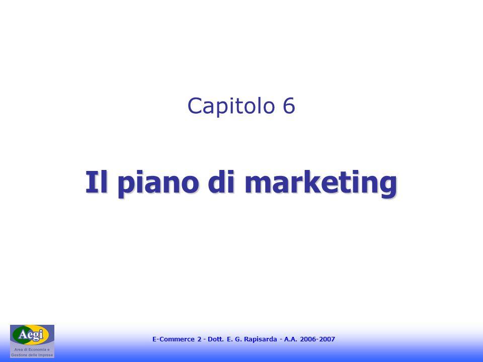 E-Commerce 2 - Dott. E. G. Rapisarda - A.A. 2006-2007 Il piano di marketing Capitolo 6